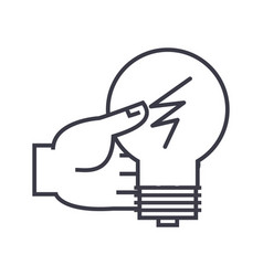 idea decision hand with lamp linear icon sign vector image