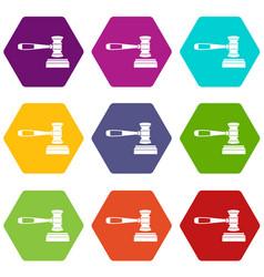 judge gavel icon set color hexahedron vector image