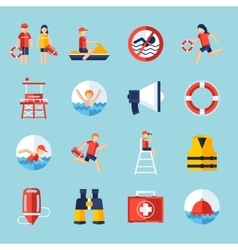 Lifeguard icons set vector