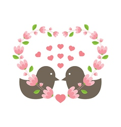 Love Birds Wearing A Heart Wreath vector image