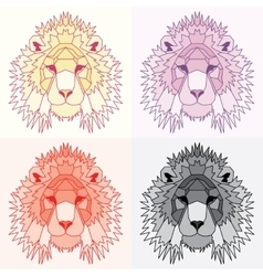 Low poly lined lions set vector