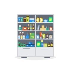 Pharmacy showcase or shop shelves vector
