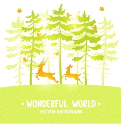 pine and deer vector image vector image