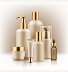 Realistic luxury premium brand set of cosmetic vector