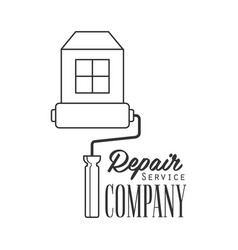 repair and renovation service black and white sign vector image vector image