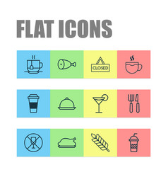 Restaurant icons set collection of cocktail hot vector