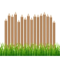 Rural wooden fence palisade in green grass vector