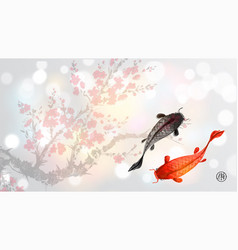 Sakura branch in blossom and two big fishes on vector