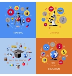 School Flat Icon Set vector image vector image