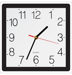 Square simple classic wall clock isolated on white vector image vector image