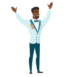 Successful african-american groom jumping vector