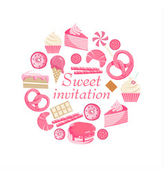 Sweet invitation cute pink sweet card vector