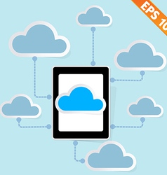 Tablet PC with cloud computing - - EPS10 vector image