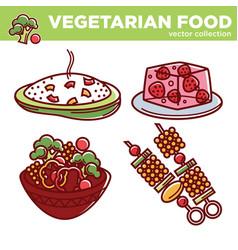 Vegetarian cuisine food dishes or vegan veggie vector