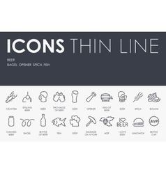 Beer thin line icons vector