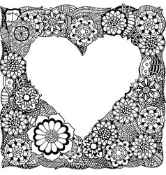 Love heart shaped floral frame vector