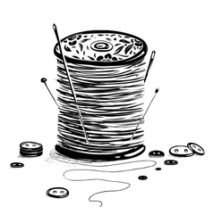 Spool of thread with needles and buttons vector