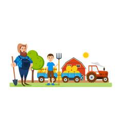 Farmer on agricultural plot engaged ennoblement vector
