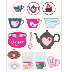 Lovely tea set vector