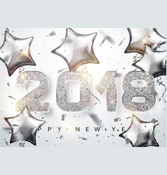 2018 happy new year silver numbers design with vector image vector image