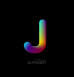 3d iridescent gradient letter j vector image