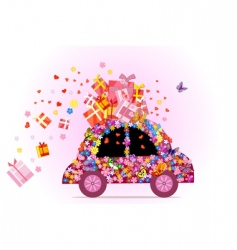 Hippie car vector