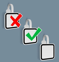 Check mark yes no stickers vector