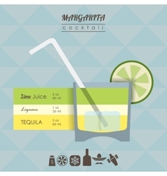 Margarita cocktail flat style with vector