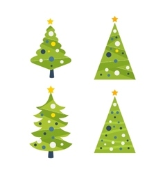 Green decorated christmas tree with a yellow star vector
