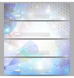Set of modern banners blue abstract winter vector