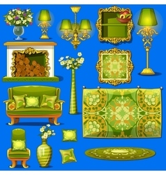 Set vintage furniture upholstered in green vector