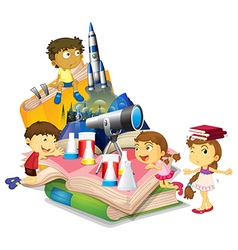 Science book with children and equipment vector