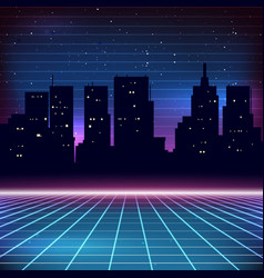 80s retro sci-fi background with city silhouette vector