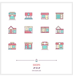 Shops line icons set vector