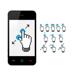 Phone with touch screen gestures vector
