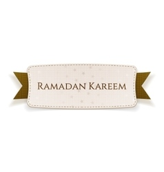 Ramadan kareem realistic tag with text and ribbon vector