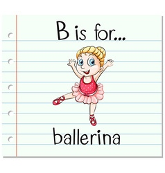 Flashcard letter b is for ballerina vector