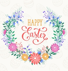 Happy easter wreath vector