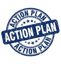 Action plan blue grunge stamp vector
