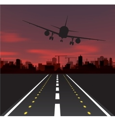Aircraft is taking off at sunset vector image