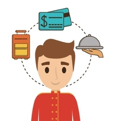 Bellboy and icon set of hotel service design vector