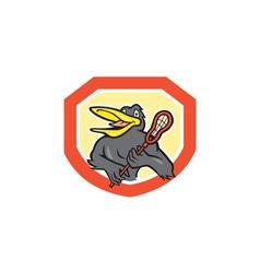 Black bird lacrosse player shield cartoon vector