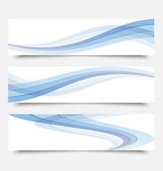 blue waves on a white backgroundset of banners vector image vector image