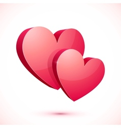 Bright red isolated hearts vector image