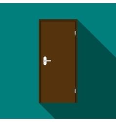 Brown steel door icon flat style vector