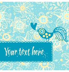 Cartoon flowers and bird in card vector image