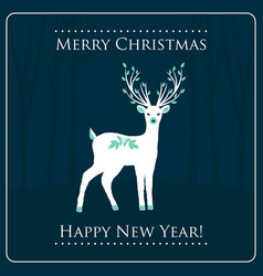 Christmas card with a deer vector