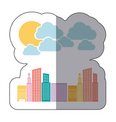 colorful builds with cloud and sun icon vector image