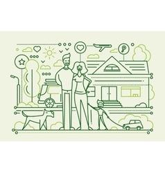 Family life - line design composition vector