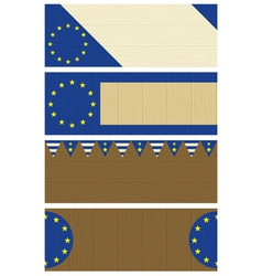 four wooden banners with elements of eu banner vector image vector image